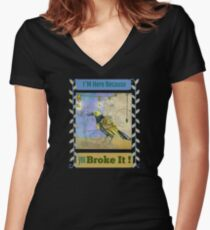 Broke it - Fix it Theme Women's Fitted V-Neck T-Shirt
