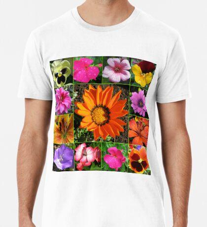 Sunlit Sommer Blumen Collage Premium T-Shirt