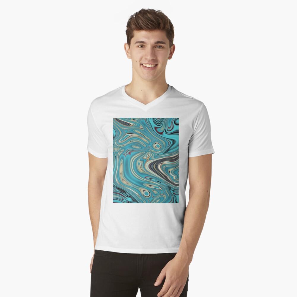 abstrakter Strandmarmormuster aquamariner Türkis wirbelt T-Shirt mit V-Ausschnitt