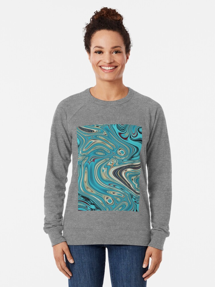 Alternative Ansicht von abstrakter Strandmarmormuster aquamariner Türkis wirbelt Leichter Pullover