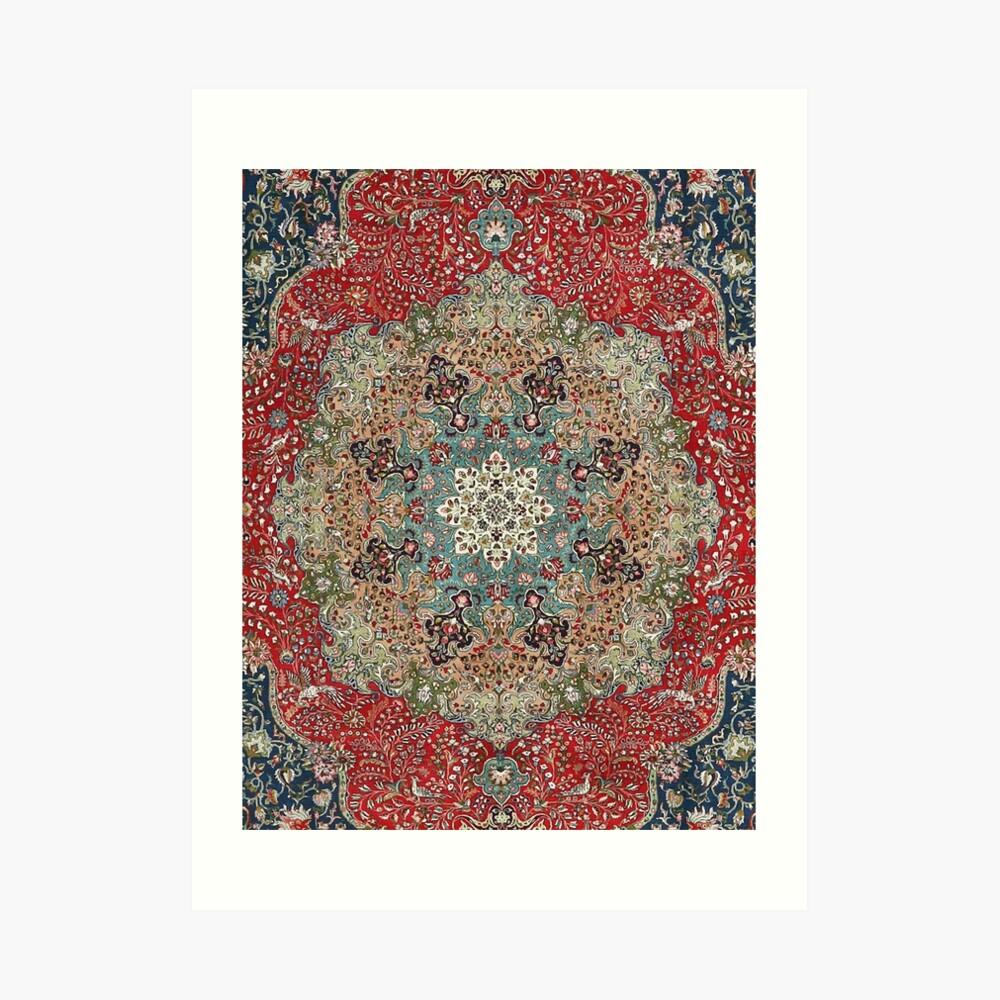 Alfombra persa antigua de la vendimia Lámina artística