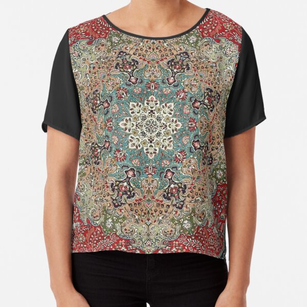 Vintage Antique Persian Carpet Print Chiffon Top