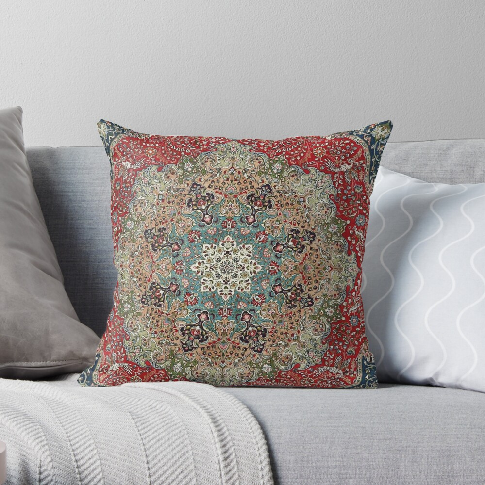 Vintage Antique Persian Carpet Throw Pillow