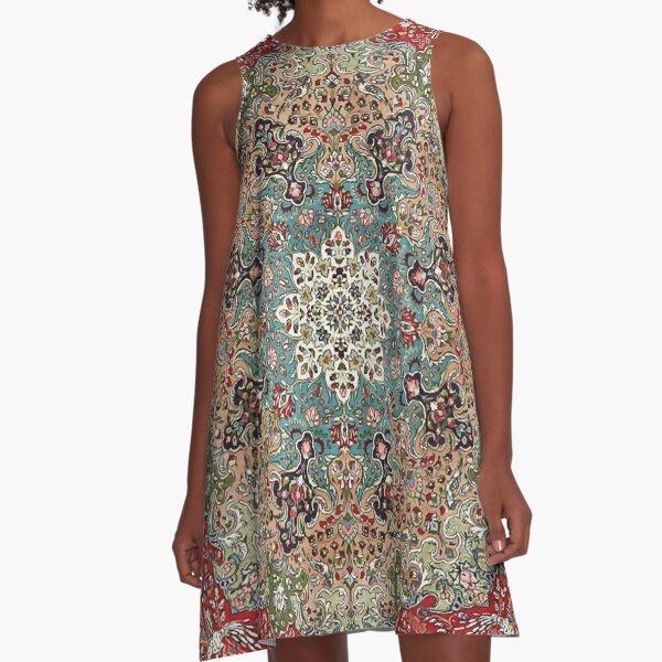 Vintage Antique Persian Carpet Print A-Line Dress
