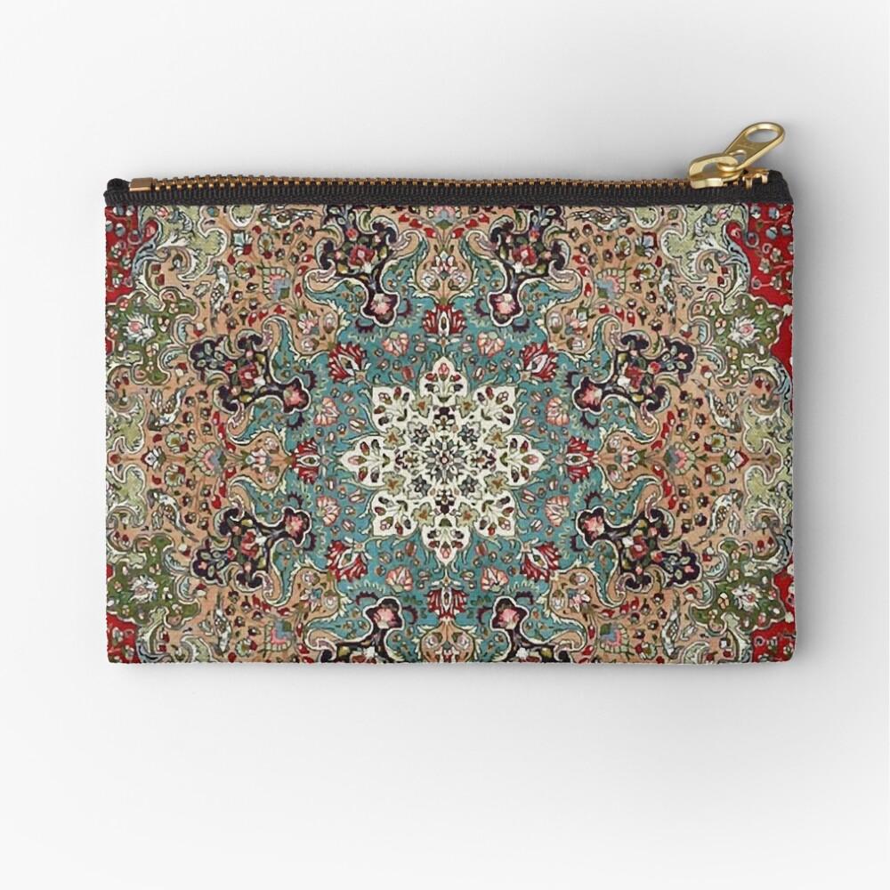 Vintage Antique Persian Carpet Print Zipper Pouch