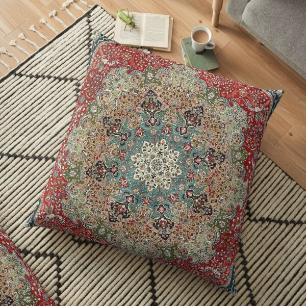 Vintage Antique Persian Carpet Print Floor Pillow