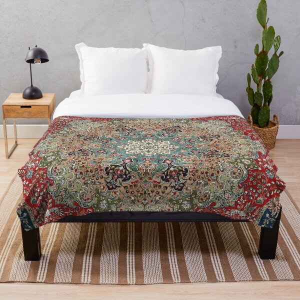 Vintage Antique Persian Carpet Print Throw Blanket