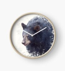 Black Bear portrait watercolor painting on white background Clock