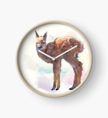 whitetail deer fawn watercolor painting Clock