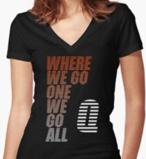 Where We Go One We Go All - Tigerstripes - QAnon Women's Fitted V-Neck T-Shirt