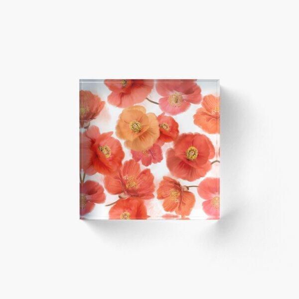 seamless   pattern of watercolor poppy flowers Acrylic Block