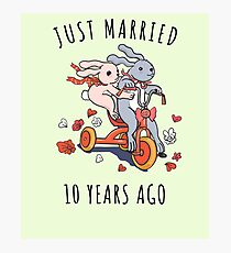 Just Married 10 Years Ago - 10th Anniversary Couple Bunnies Tee, Phone Cases And Other Gifts Photographic Print