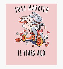 Just Married 11 Year Ago - 11th  Anniversary Couple Bunnies Tee, Phone Cases And Other Gifts Photographic Print