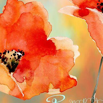Poppy flower, watercolor by Aerrie