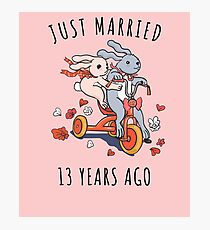 Just Married 13 Years Ago - 13th Anniversary Couple Bunnies Tee, Phone Cases And Other Gifts Photographic Print