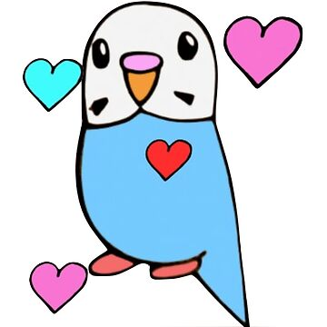 Cute Budgie with Hearts by parakeetart