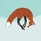 Jumping fox in the snow - Animal Illustration - Kitsune in snow scene by Davida Fernandez