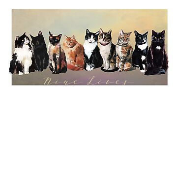 Nine Cute Cats, Nine Lives, realistic watercolor painting by Aerrie