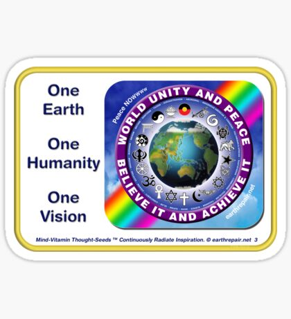WORLD UNITY AND PEACE Sticker