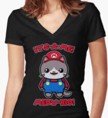 Cat Cute Kawaii Funny Mario Parody Women's Fitted V-Neck T-Shirt