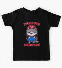 Cat Cute Kawaii Funny Mario Parody Kids Tee