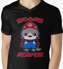 Cat Cute Kawaii Funny Mario Parody Men's V-Neck T-Shirt