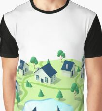 Isometric town illustration.  Graphic T-Shirt