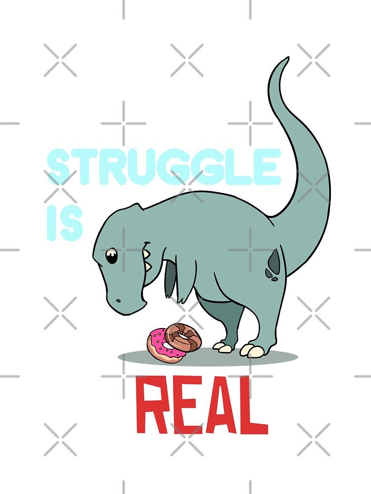 Funny T Rex Struggle Cute Dinosaur Men Women T Shirt Cotton Black S-5XL