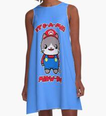 Cat Cute Funny Kawaii Mario Parody A-Line Dress