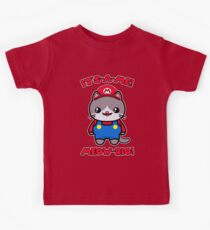 Kawaii Cat Cute Funny Mario Parody Kids Tee