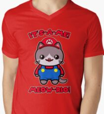 Kawaii Cat Cute Funny Mario Parody Men's V-Neck T-Shirt