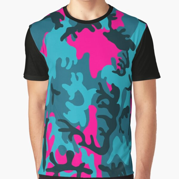 Pink and Teal Camo Graphic T-Shirt