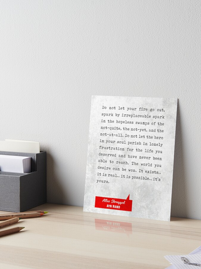 Ayn Rand Quotes Atlas Shrugged Quotes Literary Quotes Book Lover Gifts Typewriter Quotes Art Board Print By Studio Grafiikka