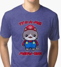 Cat Cute Funny Kawaii Mario Parody Tri-blend T-Shirt