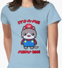 Cat Cute Funny Kawaii Mario Parody Women's Fitted T-Shirt