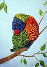 Shy Boy - Rainbow Lorikeet by Linda Callaghan