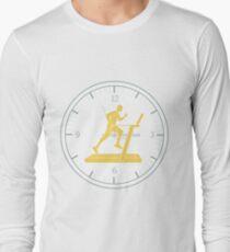 Man jogging on a treadmill and clock. Long Sleeve T-Shirt