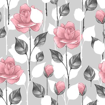 Gray and pink. Floral pattern by Gribanessa