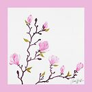 Watercolor magnolia pattern by AnnaWolfArt