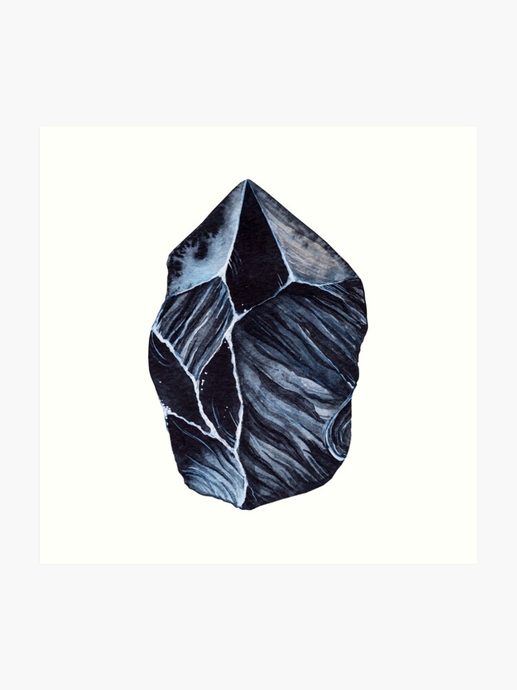 Black Obsidian root chakra stone | Art Print