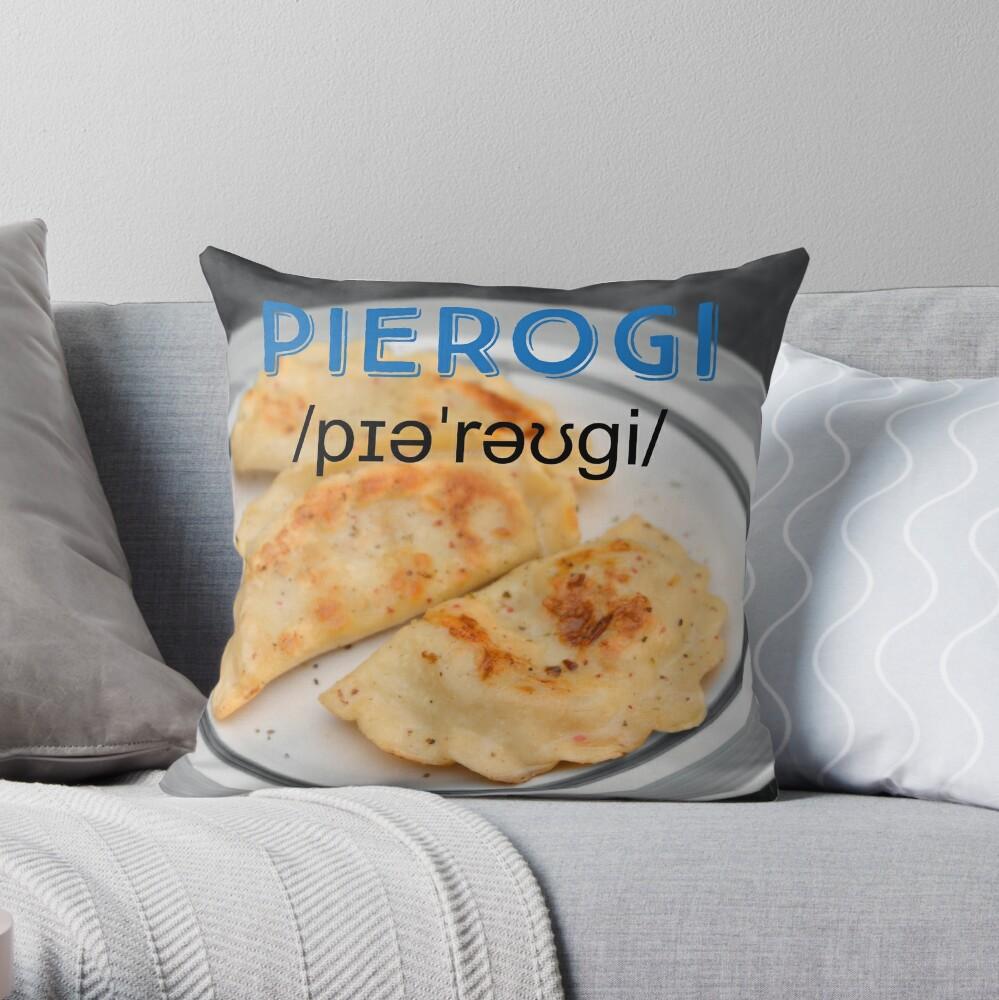 Pierogi (with pronunciation) Throw Pillow