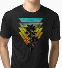 Geometric Triangles Sunset Beach Tri-blend T-Shirt