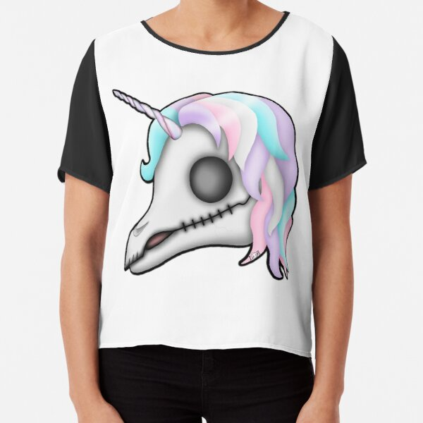 My Little Dead Unicorn | Rainbow Unicorn Skull | White Chiffon Top