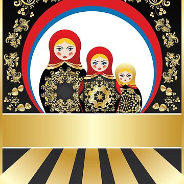 Colorful matryoshka dolls with gold floral by AnnArtshock