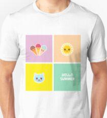 Hello Summer ice cream, sun, cat. Kawaii cute face Unisex T-Shirt