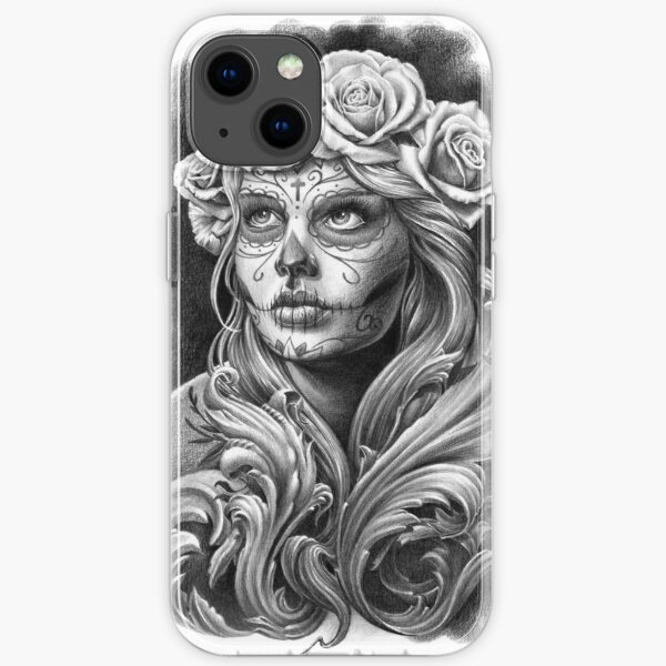 Black and Grey Catrina with a crown of roses. iPhone Soft Case