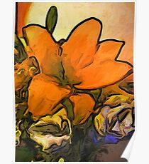 The Orange Flower and the White Roses Poster
