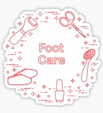Tools for pedicure. Personal care. Sticker