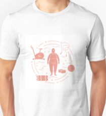 Fat woman and different sports equipment. Unisex T-Shirt