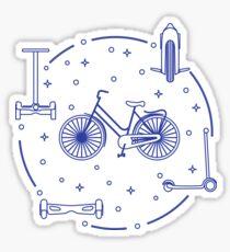 Bike, segway, mono-wheel, scooter, gyroscooter. Sticker